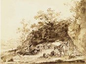 Sepia Landscape with Horses