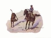 Cowboy Leading Calf