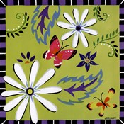 Daisies And Butterflies-Green