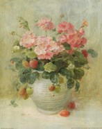 Pink Geraniums with Strawberries