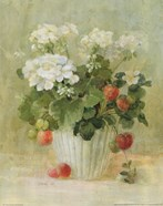 White Geraniums with Strawberries