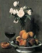 Roses Fruits Et Verre De Vin