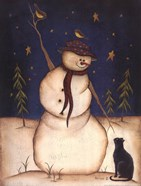 Snowmen with Black Cat
