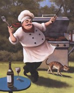 Barbecue Chef with Cat