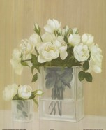 White Flowers In Square Vase