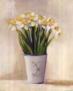 White Yellow Daffodils In Vase
