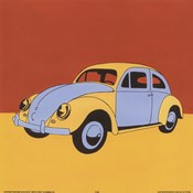 Yellow Blue Volkswagon Bug