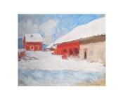 Les maisons rouges a Bjoernegaard, Norvege, 1895