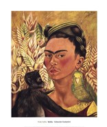 Self-Portrait with Monkey and Parrot, 1942