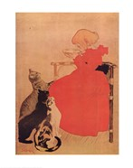 Theophile Alexandre Steinlen - Girl and Three Kittens Size 16x24