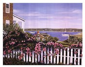 Seascape With Picket Fence And Roses