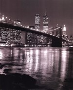 Night View Brooklyn Bridge and Skyline