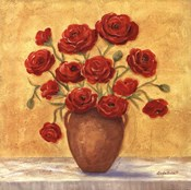 Red Ranunculus In French Vase
