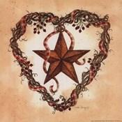 Barn Star with Heart Wreath