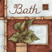 Bath (over a green plant)