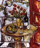 Still Life With Blooming Red Tulips