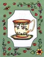 Teacup with Green Floral