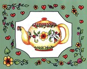 Teapot with Green Floral