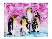 Penguins Under Magenta Sky