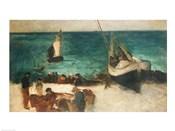 Seascape at Berck, Fishing Boats and Fishermen, 1872-73