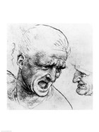 Studies for the heads of two soldiers in 'The Battle of Anghiari