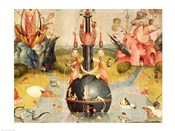 The Garden of Earthly Delights: Allegory of Luxury (yellow horizontal center panel detail)
