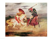 Two Knights Fighting in a Landscape