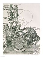 Design for 'The Great Triumphal Chariot of Emperor Maximilian I': detail showing the Virtues steering the team of horses