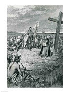 Jacques Cartier Setting up a Cross at Gaspe