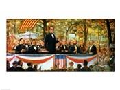 Abraham Lincoln and Stephen A. Douglas debating at Charleston