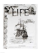 The Mayflower, front cover from 'Life' magazine, 11th October, 1883