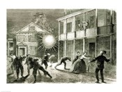 The Federals shelling the City of Charleston: Shell bursting in the streets in 1863