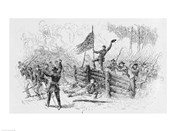 Capture of a part of the burning union breastworks on the Brock Road on the afternoon of May 6th