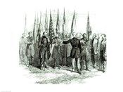 General Custer presenting captured Confederate flags in Washington on October 23rd 1864