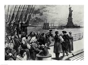 New York - Welcome to the land of freedom - An ocean steamer passing the Statue of Liberty