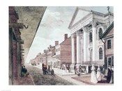 High street with the first Presbyterian Church, Philadelphia, 1799