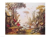 Lake with geese, storks, parrots and herons, from the Salon of Gilles Demarteau