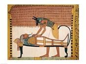 Anubis attends Sennedjem's Mummy