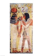 The Goddess Hathor placing the magic collar on Seti