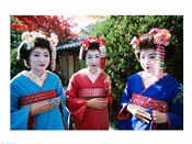 Three geishas, Kyoto, Honshu, Japan