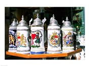 Group of beer steins on a table, Munich, Germany