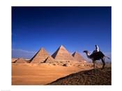 Riding a camel near pyramids, Giza Pyramids, Giza, Egypt