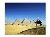 Man riding a camel near the pyramids, Giza, Egypt