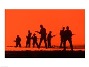 Silhouette of army soldiers, US Military Special Forces