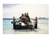 Army soldiers on a military tank in the sea, M551 Sheridan