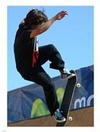 Skateboarder On Blue