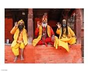 Three Saddhus at Kathmandu Durbar Square