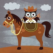 Cowboy Owl on Horse