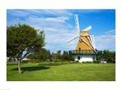 Traditional windmill in a field, City Beach Park, Oak Harbor, Whidbey Island, Island County, Washington State, USA