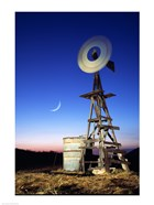 Industrial windmill at night, California, USA